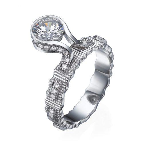 white gold pulled ribbon ring