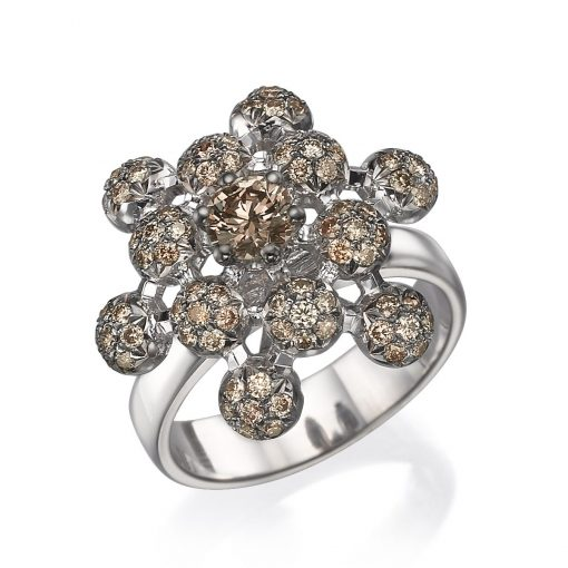 queen anne's lace champagne diamond ring