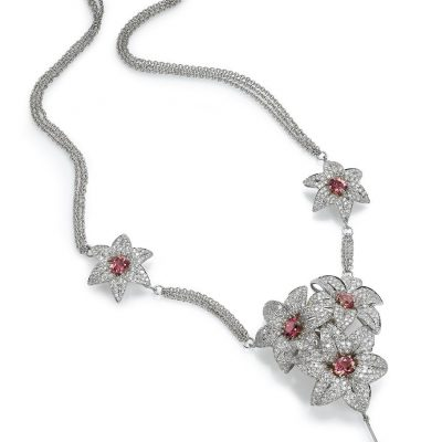 high end diamond lily necklace
