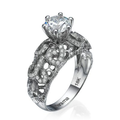 diamond lace ring white gold