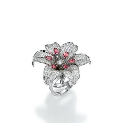 high end flower diamond ring