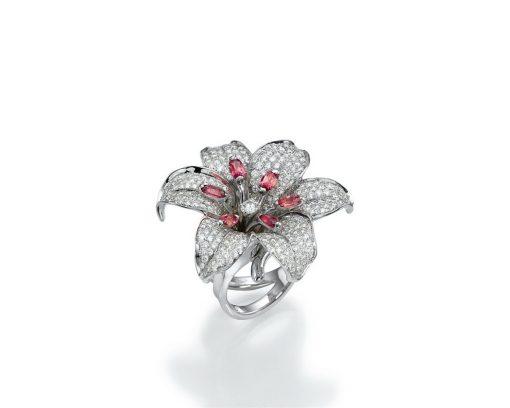 high end flower diamond ring