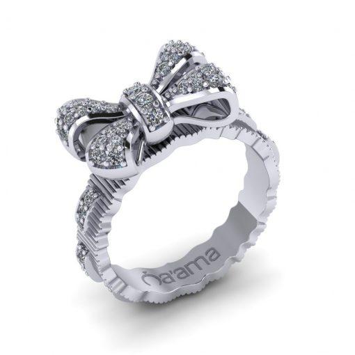 white gold diamond bow ring