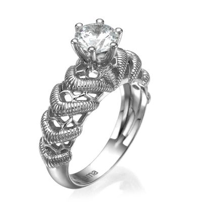 white gold lace engagement ring