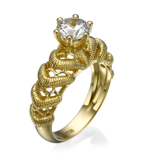 gold lace engagement ring