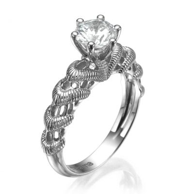 dainty lace diamond ring white gold