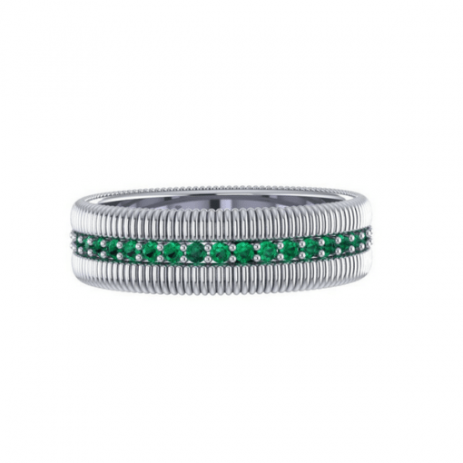 emerald eternity ring, white gold