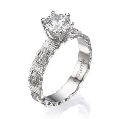 white gold diamond ribbon ring