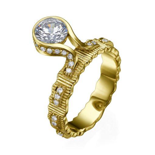 pulled ribbon diamond ring