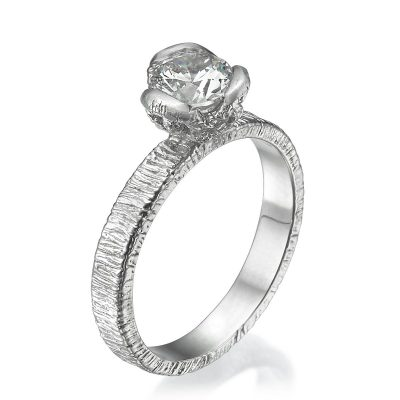 three petal lace engagement ring white gold
