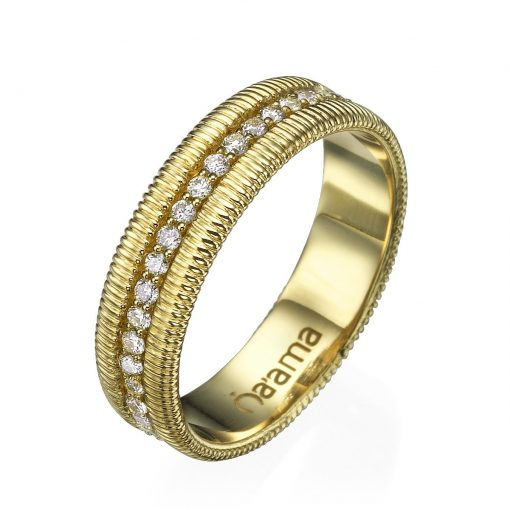 embroidered gold eternity wedding band