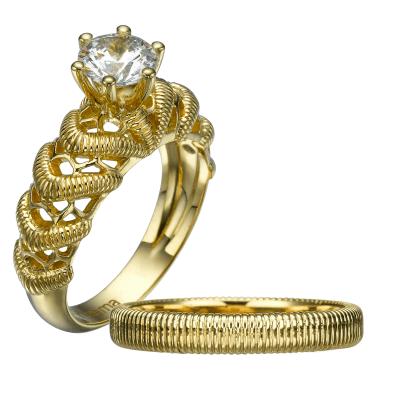 gold lace vintage bridal set