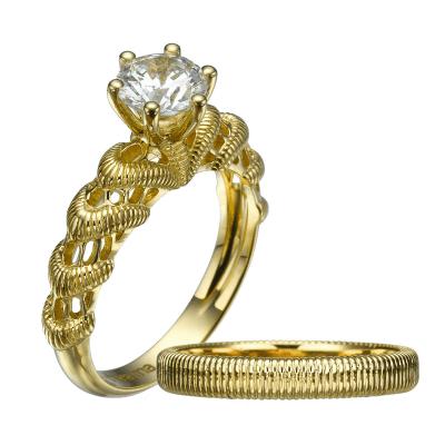 gold lace vintage bridal set,dainty ring set