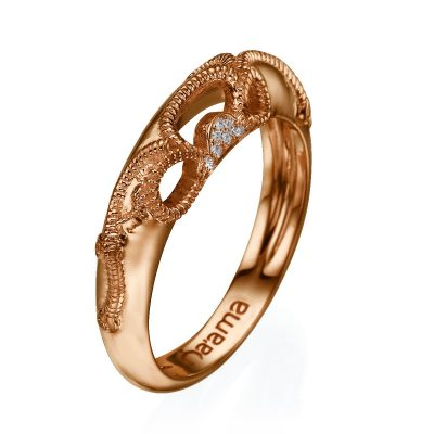 rose gold floral lace wedding ring