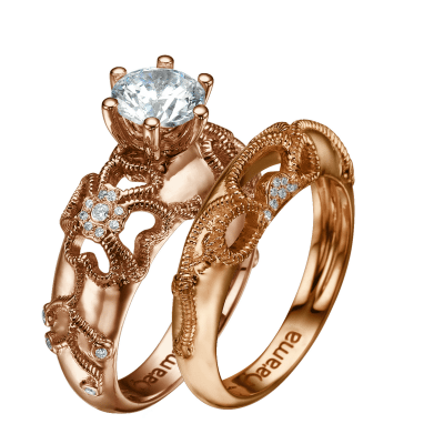 rose gold floral engagement ring and wedding ring