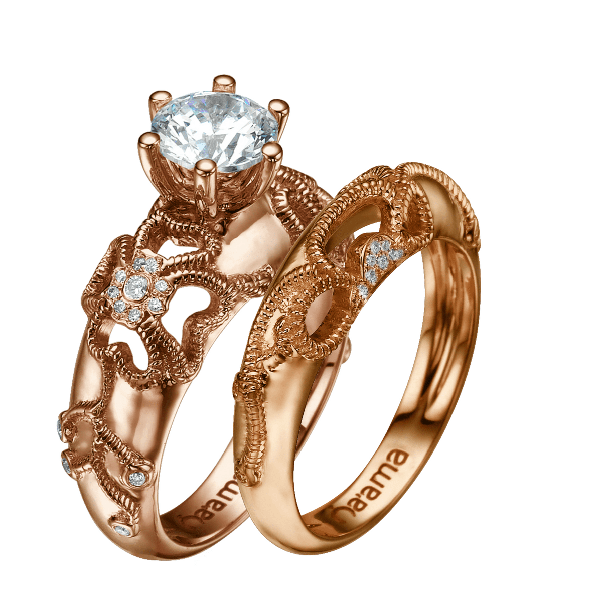 rose gold diamond floral bridal set naama jewelry. Black Bedroom Furniture Sets. Home Design Ideas