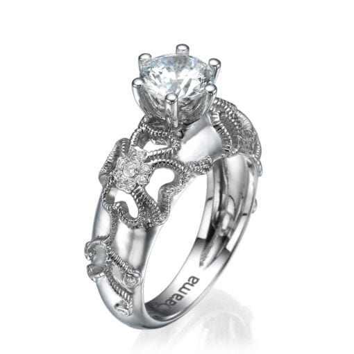 floral engagement ring white gold