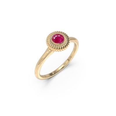 Dainty Ruby gold ring, embroidered edge design